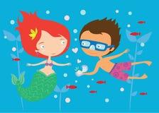 Härlig förälskad gullig illustration för sjöjungfru och för pojke Arkivbild