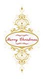 Härlig för vintergarnering för glad jul guld- illustration för vektor med den ursnygga blommastjärnaprydnaden Goda för feriedesig stock illustrationer