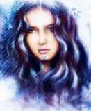 Härlig förtrollande kvinnaframsida med strukturfärgbackgroun vektor illustrationer