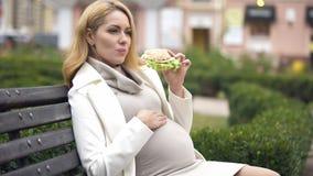Härlig förväntande kvinna som äter hamburgaren, sittande bänk som trycker på buken, aptit arkivfoto