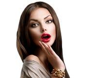 Härlig förvånad brunettflicka Royaltyfria Foton