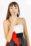 härlig förvånad modeflicka stöt Arkivbilder