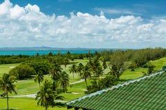 Härlig fantastisk sikt av den naturliga tropiska trädgården Arkivbild