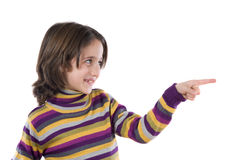 härlig fingerflicka henne som pekar Arkivbilder