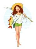 Härlig fisherflicka med fisken och stången royaltyfri illustrationer