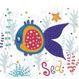 härlig fisk Härligt hav för vektor med färgrikt Royaltyfria Bilder