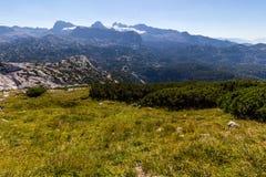 Härlig fjällängsikt från det Dachstein berget, 5 fingrar som beskådar plattformen, Österrike Arkivbilder