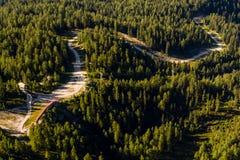 Härlig fjällängsikt från det Dachstein berget, 5 fingrar som beskådar plattformen, Österrike Arkivfoto