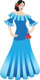 Härlig dansare i lång klänning Royaltyfri Fotografi