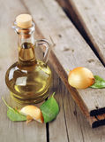 härlig flaska klädde oljeolivgrönkryddor Arkivfoton