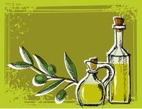 härlig flaska klädde oljeolivgrönkryddor Royaltyfri Foto