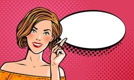 Härlig flicka eller ung kvinna med pekfingret Utvikningsbildbegrepp Retro komisk stil för popkonst den främmande tecknad filmkatt stock illustrationer