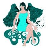 härlig flicka för ängel Vektor Illustrationer