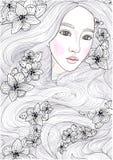 Härlig flicka för vektor med långt hår för mirakel och svarta orkidér vektor illustrationer
