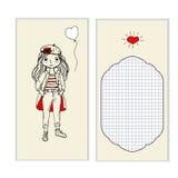 Härlig flicka för vykort, ställe för meddelanden royaltyfri illustrationer