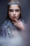 Härlig flicka i bilden av den kalla drottningen med frost på hans ögonbryn Modellen med idérik makeup och krona på hans huvud Arkivfoton