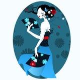 Härlig flicka i den japanska klänningen med fanen i hand stock illustrationer