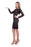 Härlig flicka i den svarta korta klänningen som isoleras på Fotografering för Bildbyråer