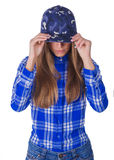 Härlig flicka i en hatt Arkivbilder