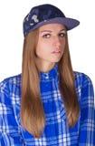 Härlig flicka i en hatt Arkivfoton