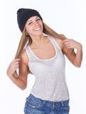 Härlig flicka i en hatt Arkivfoto