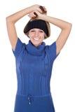 Härlig flicka i en hatt Arkivbild