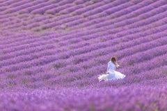 Härlig flicka i en vit klänning som tycker om sommar i ett lavendelfält på solnedgången royaltyfria foton