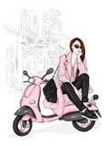 Härlig flicka i ett stilfullt lag, jeans och skor Vektorillustration för en vykort eller en affisch Mode och stil som beklär royaltyfri illustrationer