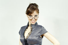 Härlig flicka i exponeringsglas Royaltyfri Fotografi