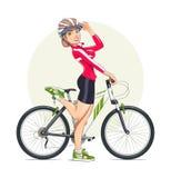 Härlig flicka i hjälm med mountainbiket sport royaltyfri illustrationer