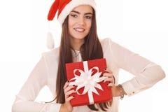 Härlig flicka i julhatt Royaltyfria Bilder