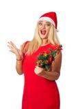 Härlig flicka i jultomten en hjälpredahatt som rymmer ett julträd Fotografering för Bildbyråer