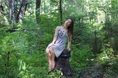 Härlig flicka i klänningsammanträde på stubbe i skog Royaltyfria Foton