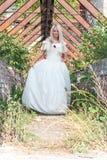 Härlig flicka i medeltida klänning Arkivfoto