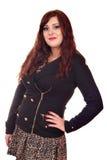 Härlig flicka i omslag och kjol Fotografering för Bildbyråer