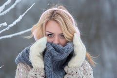 Härlig flicka i rosa hörlurar på halsduken med snö Fotografering för Bildbyråer