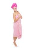 Härlig flicka i rosa handduk Royaltyfri Foto