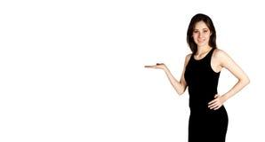 Härlig flicka i svart klänning arkivfoton
