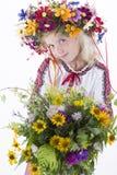 Härlig flicka i ukrainska etniska kläder Royaltyfria Foton