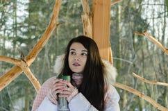 Härlig flicka i vinter i skogen royaltyfria foton