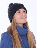 Härlig flicka i vinterhatt Arkivbild