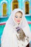 Härlig flicka i vintern Arkivfoton
