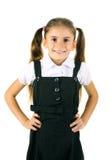 härlig flicka little skolalikformig royaltyfria foton