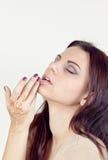Härlig flicka målade Mehandi Royaltyfria Foton