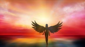 Härlig flicka med ängelvingar som går på kusten på solnedgången royaltyfri illustrationer