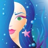 Härlig flicka med blått hår i vatten stock illustrationer