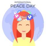 Härlig flicka med blommakransen på internationell freddag stock illustrationer