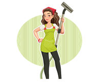 Härlig flicka med den clenar vakuumen royaltyfri illustrationer