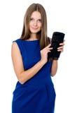 Härlig flicka med den svarta handväskan Royaltyfria Bilder
