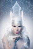 Härlig flicka med det idérika sminket för det nya året Vinter po Arkivfoton